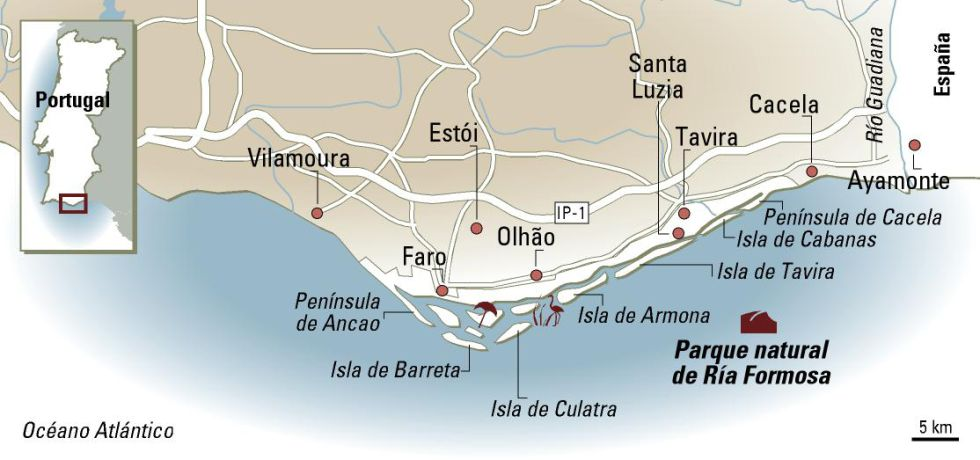 Islands of southern Portugal reached from Olhao and Faro